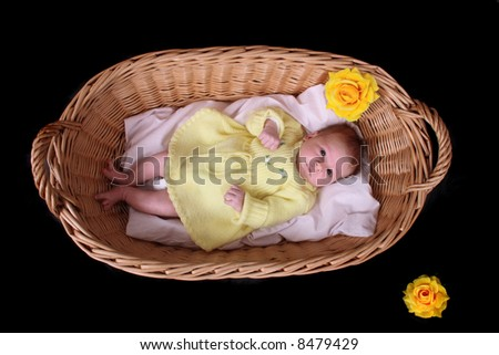 newborn on the black - stock photo