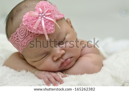 Newborn Sleep Tight Wearing Pink Head Band