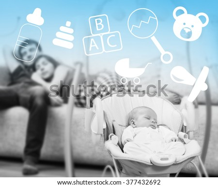 Newborn sleeping in baby swing  - stock photo
