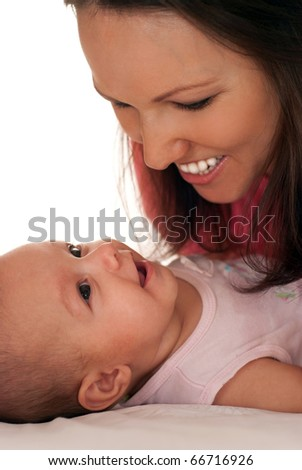 newborn with her mother on the white