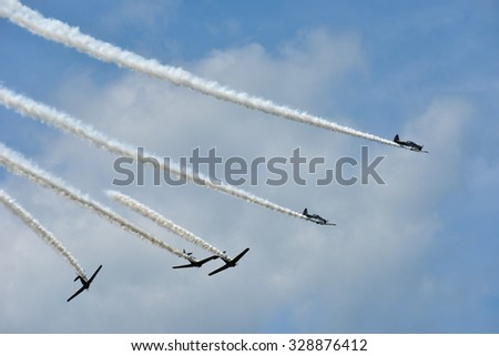Newburgh, New York - August 29, 2015: Acrobatic Air Show on a sunny day.