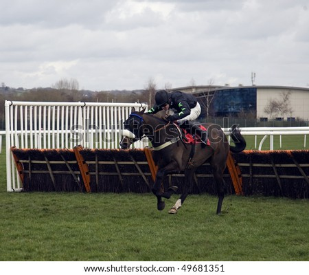 NEWBURY, BERKS-MAR 27: Jockey Jason Maguire  takes riptide over hurdles to win in the first race at Newbury Racecourse, UK, March 27, 2010 in Newbury, Berks - stock photo