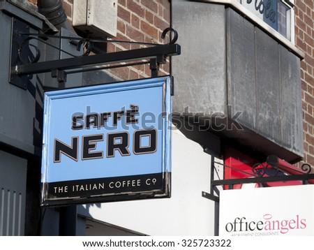 Newbury, Northbrook Street, Berkshire, England - October 10, 2015: Nero coffeehouse, European coffeehouse brand specialising in the creation of high quality Italian coffee - stock photo