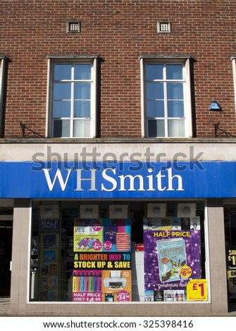Newbury, Northbrook Street, Berkshire, England - October 10, 2015: W H Smith, British retailer selling books, stationery, magazines, newspapers and entertainment products