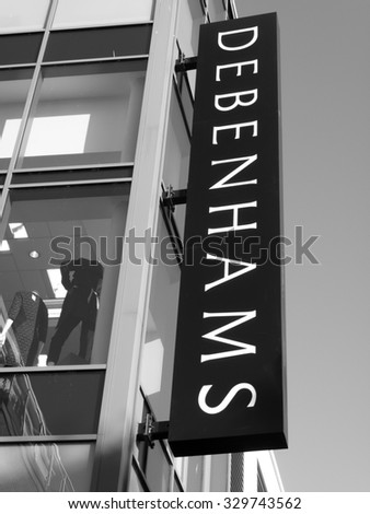 Newbury, Parkway Shopping Centre, Berkshire, England - October 10, 2015: Debenhams department store, founded in 1778 by William Clark, who began trading at 44 Wigmore Street, London - stock photo
