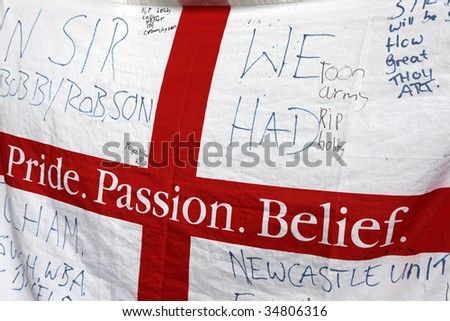 NEWCASTLE UPON TYNE, UK- AUGUST 5:  A makeshift memorial to Sir Bobby Robson, deceased former England Football Manager, is shown at St James Park stadium on August 05, 2009 in England. - stock photo