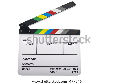 Newer open clapboard isolated on white - stock photo