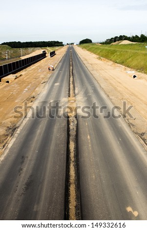 Newly build autobahn in Germany  - stock photo