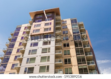 Newly build contemporary condominiums in downtown Denver.