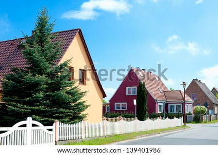 Newly build residential in a in a suburban neighborhood in Germany - stock photo