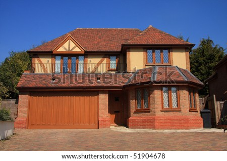 Newly finished detached family home - stock photo