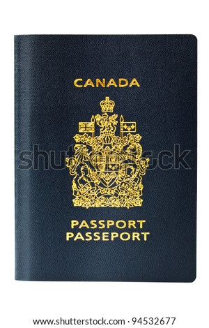 Newly issued Canadian passport waiting for its maiden voyage. A passport is required for the international world traveler and is a valuable form of identification. Isolated on white. - stock photo