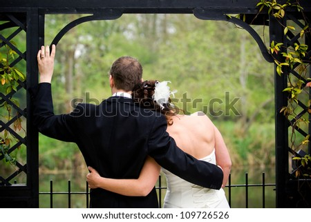 Newly married couple in solitude. - stock photo