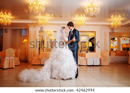 Newly-married couple. The first marriage waltz - stock photo