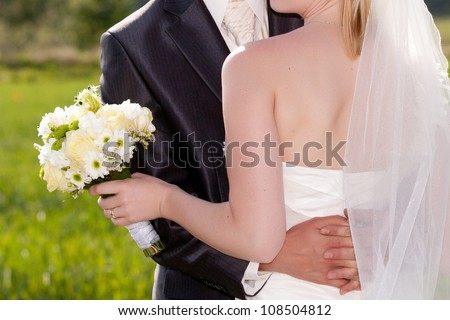 Newly married couple - wedding details - stock photo