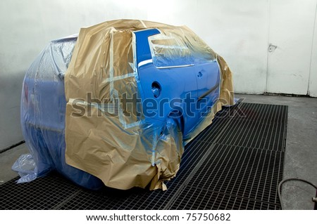 Newly painted car. - stock photo
