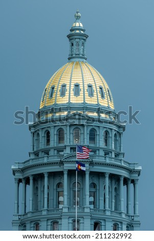 Newly renovated golden dome of the Colorado State Capitol building in Denver, Colorado