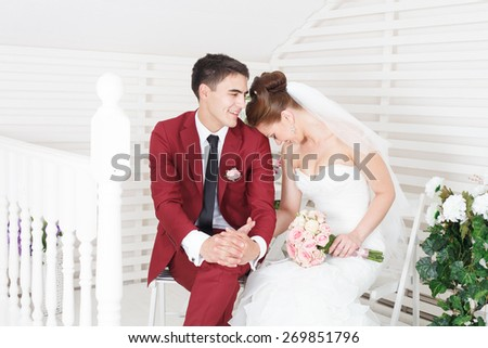 Newlyweds on Wedding Day. Bride and Groom. - stock photo