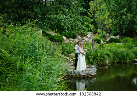 newlyweds standing in front of scenic landscape near the lake