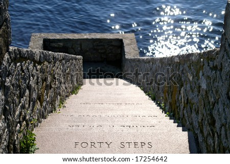 Newport Rhode Island Forty Steps Along Famous Cliff Walk Horizontal - stock photo