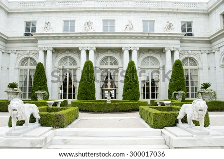 NEWPORT - RHODE ISLAND, USA - JULY 18, 2015: Rosecliff is one of the Gilded Age mansions built by architect Stanford White between 1898-1902 - stock photo