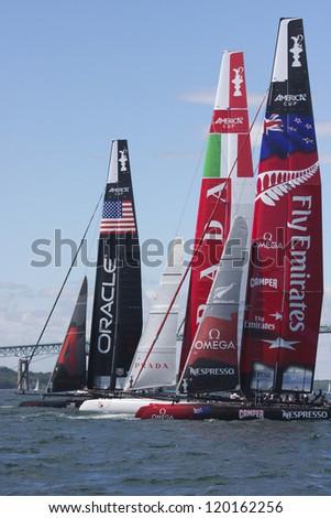 NEWPORT, RI - JUNE 28:  Start of 2012 America's Cup World Series in Newport, RI on June 28, 2012. - stock photo