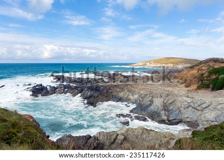 Newquay coast Cornwall England UK at Little Fistral and Nun Cove - stock photo
