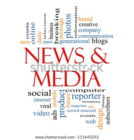 News and Media Word Cloud Concept with great terms such as television, viral, magazines, social, internet, ads, mobile, events and more. - stock photo