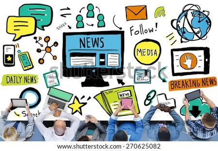 News Article Advertisement Publication Media Journalism Concept - stock photo