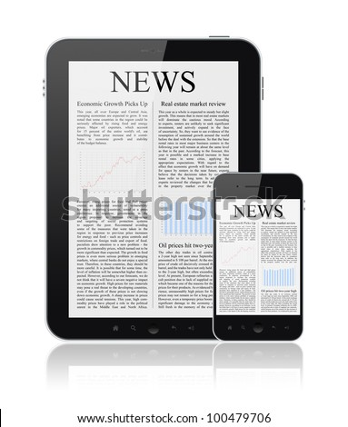 News articles on modern digital tablet and mobile smart phone. Isolated on white. - stock photo