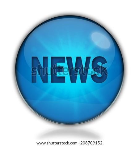 News blue glossy web icon - stock photo