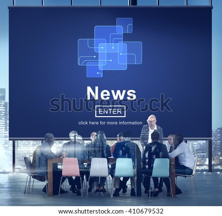 News Broadcast Information Report Update Communication Concept - stock photo
