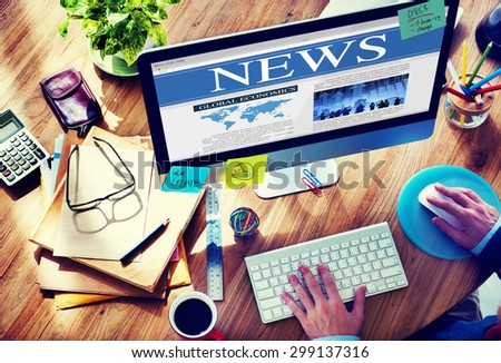 News Browsing Business Technology Wireless Computer Connecting Concept - stock photo