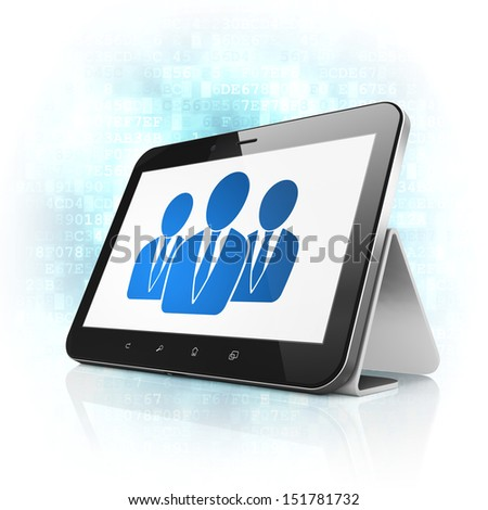 News concept: black tablet pc computer with Business People icon on display. Modern portable touch pad on Blue Digital background, 3d render - stock photo