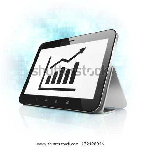 News concept: black tablet pc computer with Growth Graph icon on display. Modern portable touch pad on Blue Digital background, 3d render - stock photo