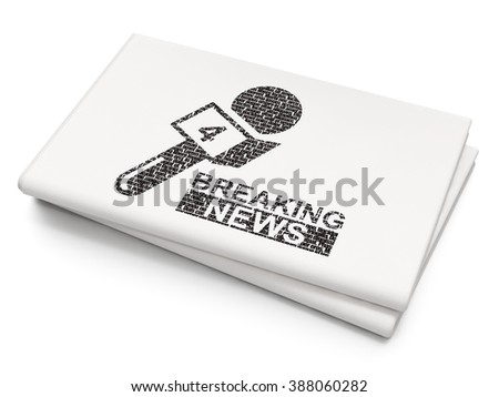 News concept: Breaking News And Microphone on Blank Newspaper background - stock photo
