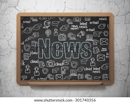 News concept: Chalk Blue text News on School Board background with  Hand Drawn News Icons, 3d render - stock photo