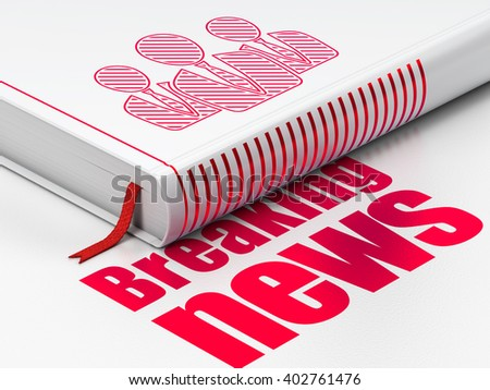 News concept: closed book with Red Business People icon and text Breaking News on floor, white background, 3D rendering - stock photo