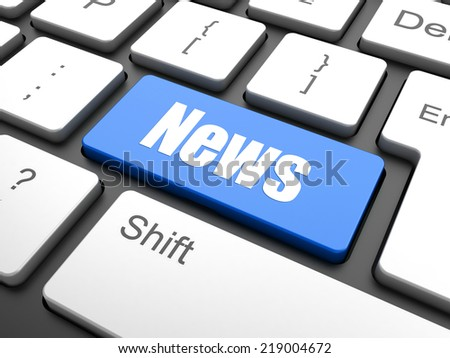 News concept: computer keyboard with word News, selected focus on enter button background, 3d render - stock photo