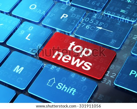 News concept: computer keyboard with word Top News on enter button background, 3d render - stock photo