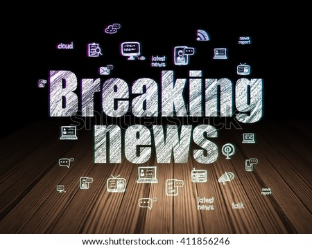 News concept: Glowing text Breaking News,  Hand Drawn News Icons in grunge dark room with Wooden Floor, black background - stock photo