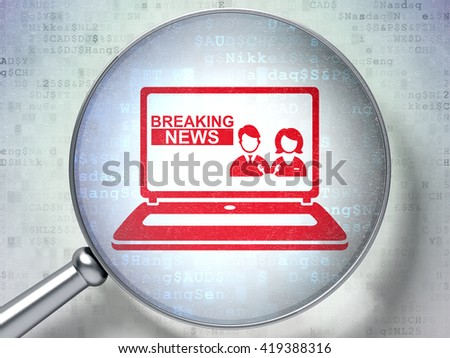 News concept: magnifying optical glass with Breaking News On Laptop icon on digital background, 3D rendering - stock photo