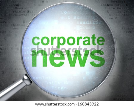 News concept: magnifying optical glass with words Corporate News on digital background, 3d render - stock photo
