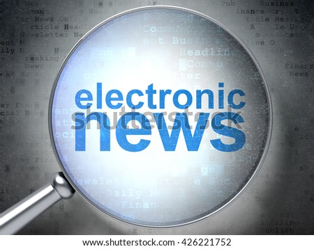 News concept: magnifying optical glass with words Electronic News on digital background, 3D rendering - stock photo