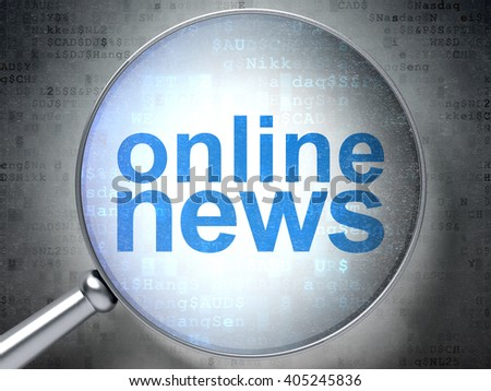 News concept: magnifying optical glass with words Online News on digital background, 3D rendering - stock photo
