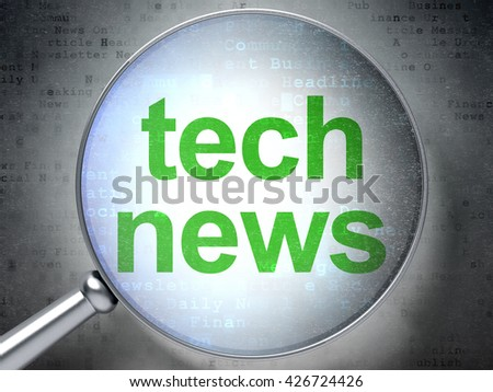News concept: magnifying optical glass with words Tech News on digital background, 3D rendering - stock photo