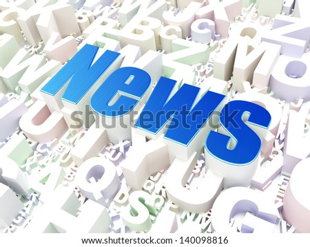 News concept: News on alphabet  background, 3d render - stock photo