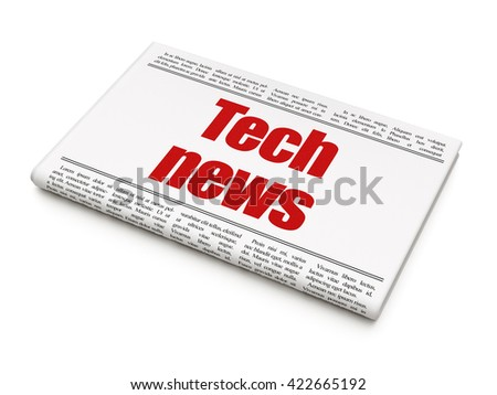 News concept: newspaper headline Tech News on White background, 3D rendering - stock photo
