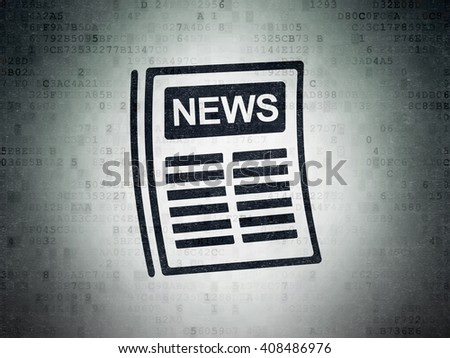 News concept: Painted black Newspaper icon on Digital Paper background - stock photo