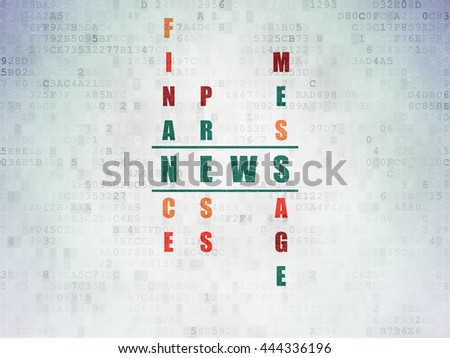 News concept: Painted green word News in solving Crossword Puzzle on Digital Data Paper background - stock photo